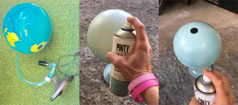 Chalk-paint-en-spray-Pintyplus-on-plastic-for-ball-world